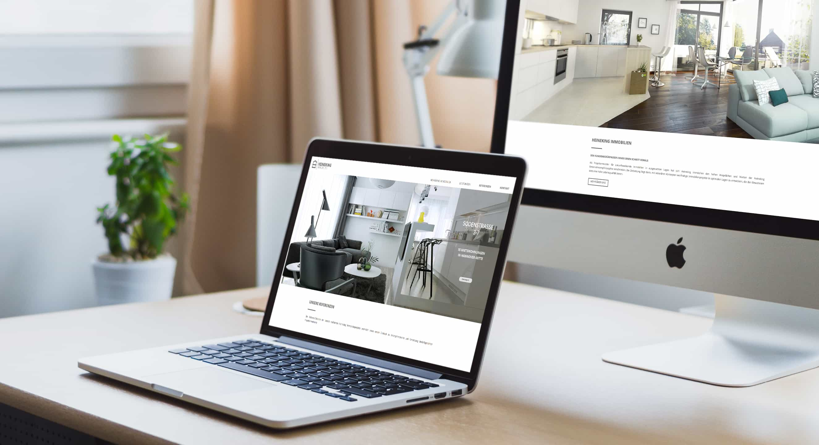 Immobilienmarketing Berlin - PlusQuadrat Projects - Heineking Immobilien - Website - Design - Programmierung - iMac - MacBook