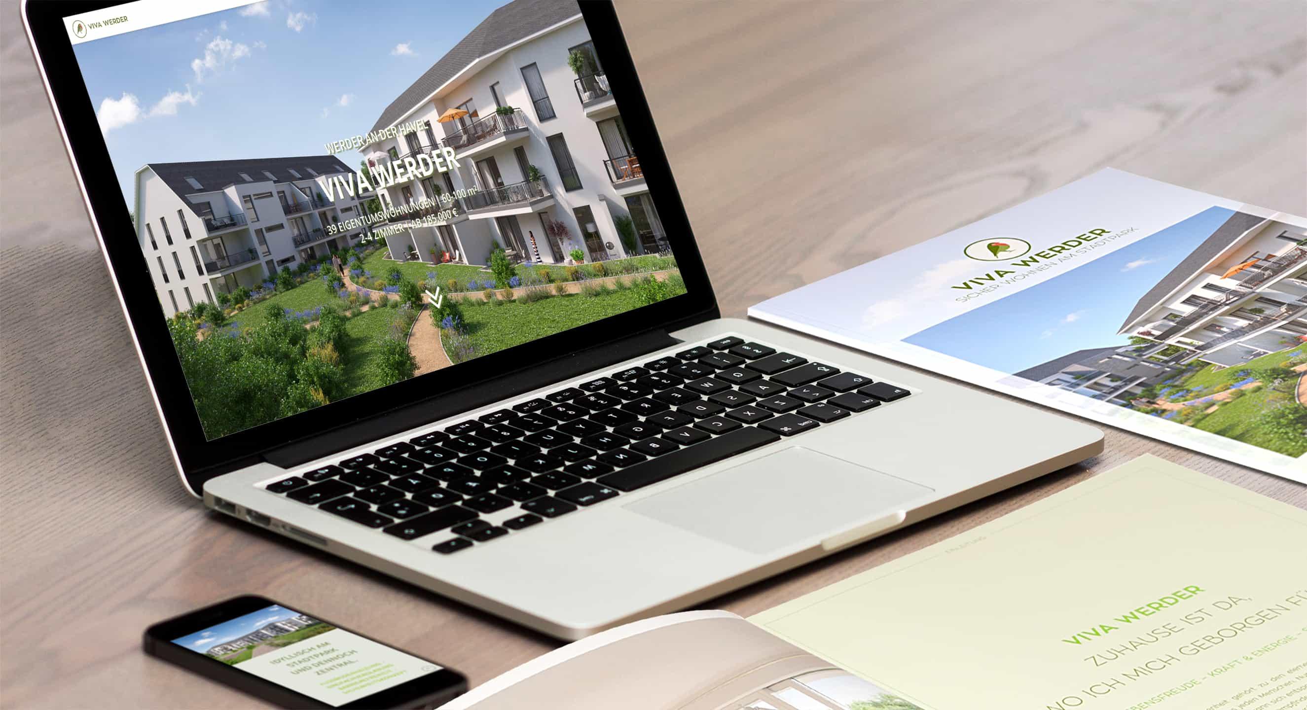 Immobilienmarketing Berlin - PlusQuadrat Projects - VIVA WERDER - RECONA Living - Website - iPad - iMac - iPhone - Broschüre